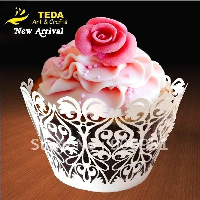 pearl White wedding cupcake wrappers cake picks(China (Mainland ...