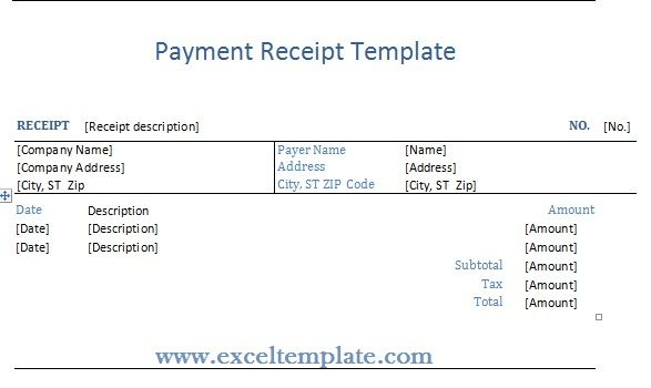 Get Payment Receipt Template | ExcelTemple  Payment Receipt Sample