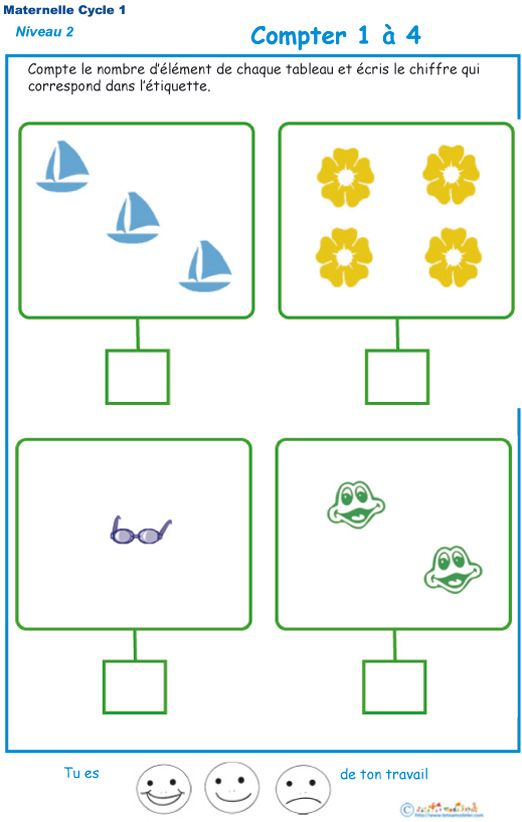 Imprimer l'exercice 1, tableau à compléter pour compter | Cours de maternelle, Exercice moyenne ...