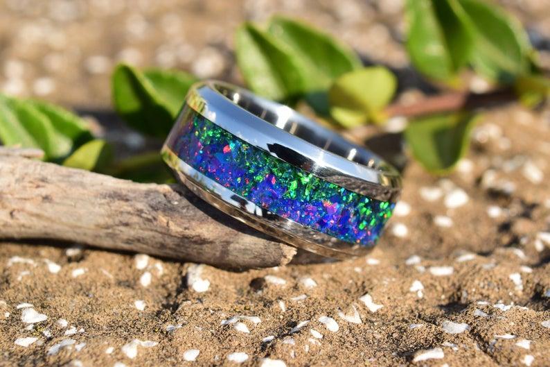 Wedding Ring Stainless Steel Ring Crushed Dark Green