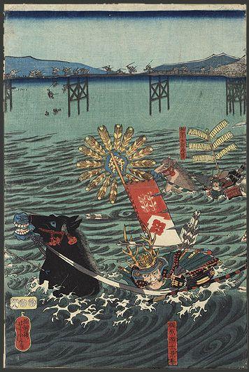 """Original Yoshitora (active circa 1840 - 1880), Japanese Woodblock Print, The Battle of Uji River"""