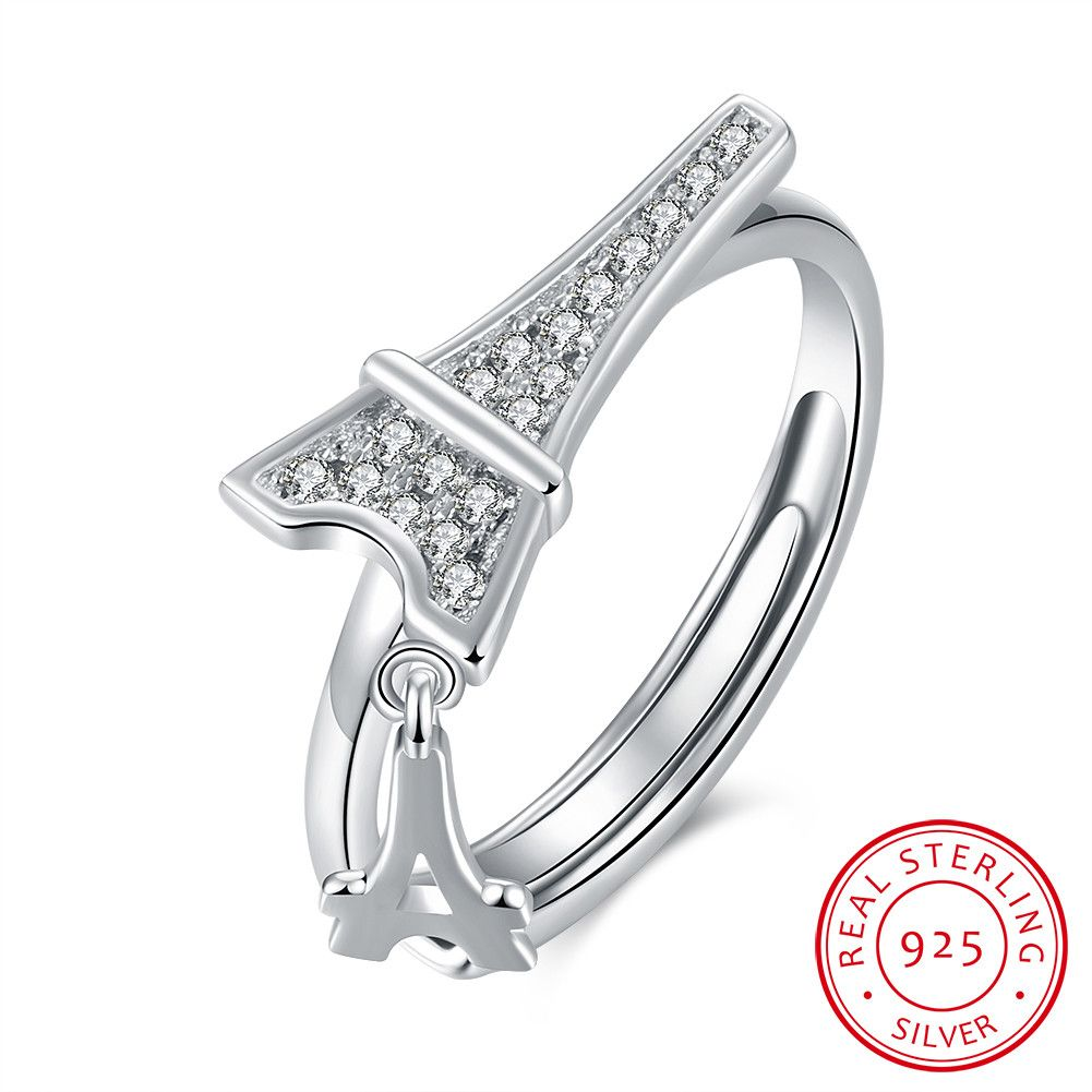 925 Sterling Silver Eiffel Tower Opening Ring