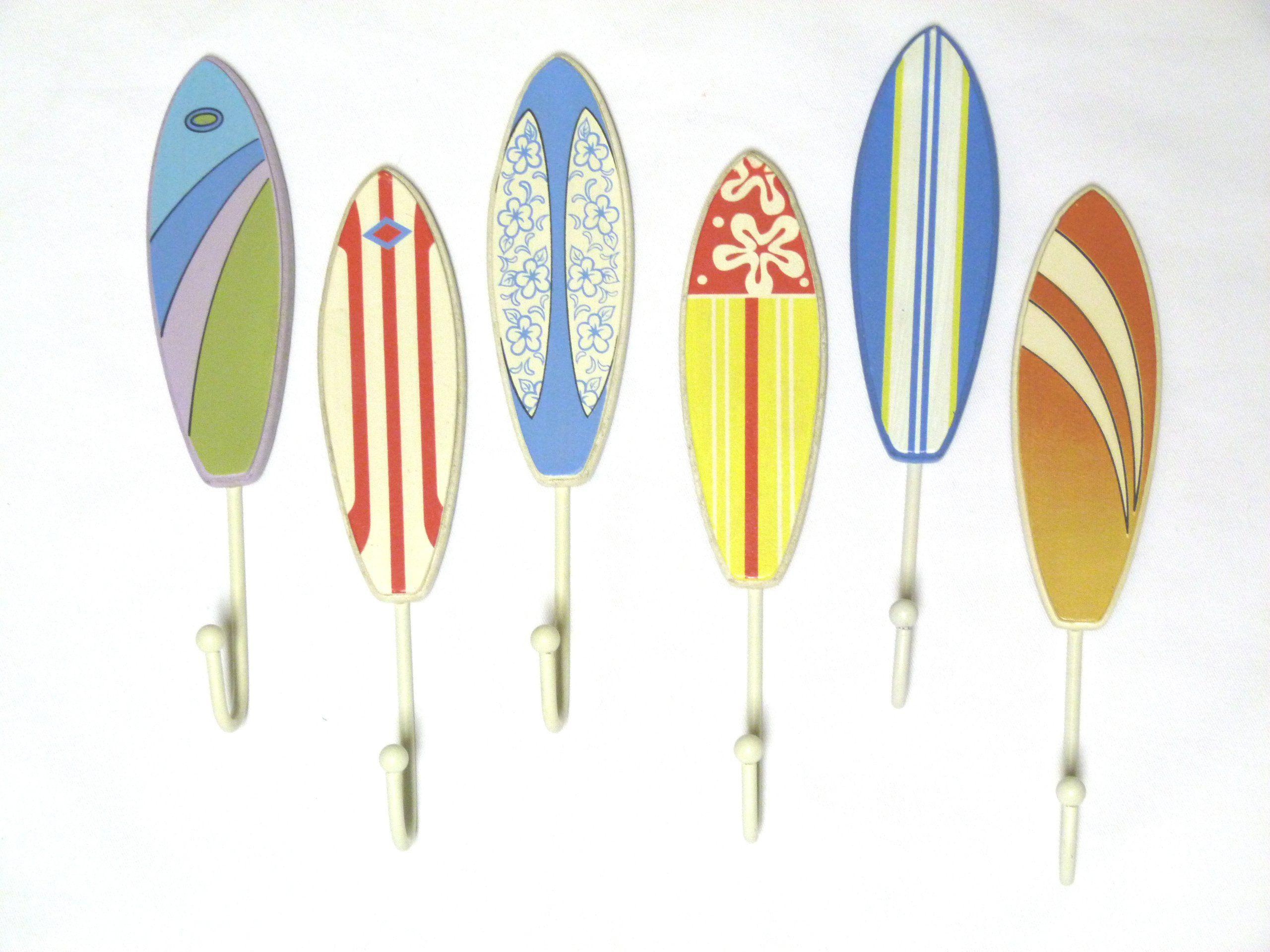 Juego de 6 tablas de surf de madera ganchos for Ganchos para colgar