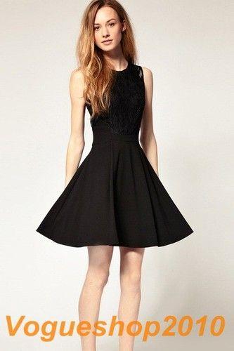 New Classic Lace Scoop Neck Sleeveless Slim Little Black Dress Size