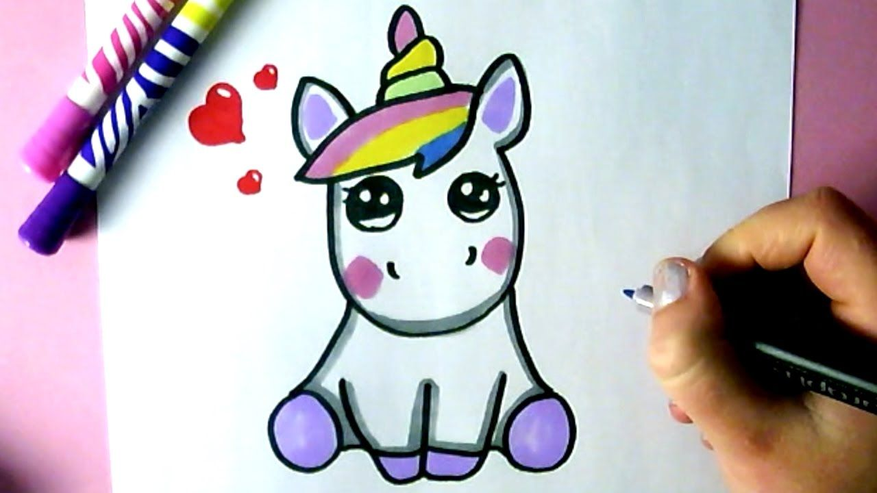 Comment dessiner une licorne kawaii dessin youtube - Dessin de licorne facile ...