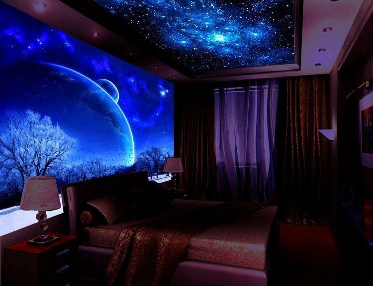 Schlafzimmer mit fluoreszierendem Wand- und Deckenbild Wohnideen - wohnideen fur schlafzimmer designs