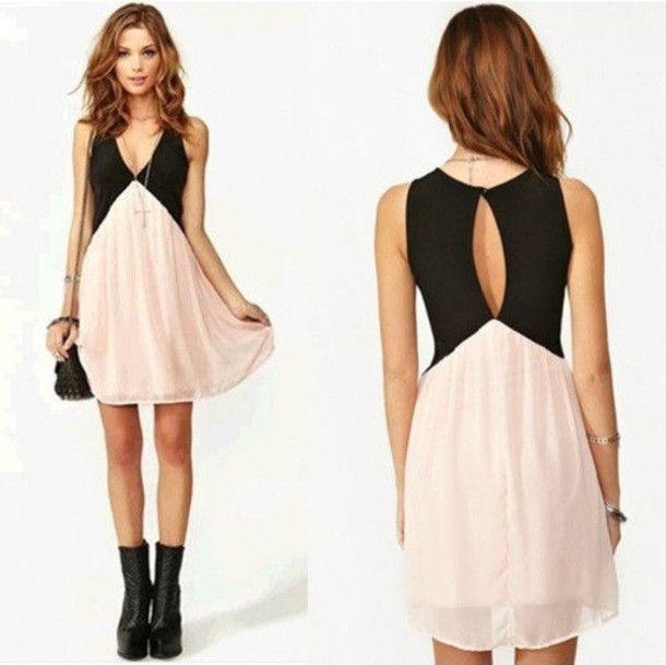 Dress: black, coral, peach, chic, trendy, short, mini, casual ...