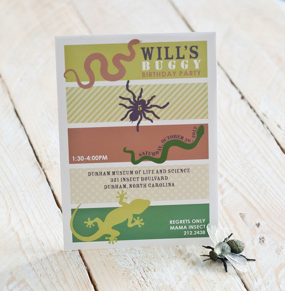 reptile insect party invitation | 6 Year Old Birthday Bash ...
