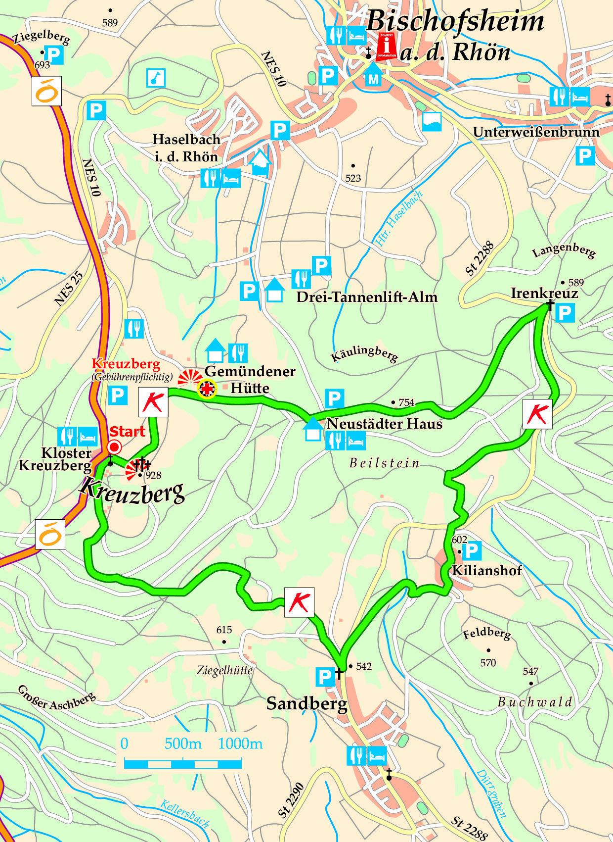 Extratour Kreuzbergtour Karte Wandern Deutschland Erkunden Wandern