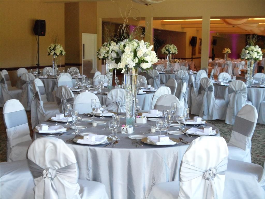 Silver Table Cloth White Chair Covers Wedding Google Search
