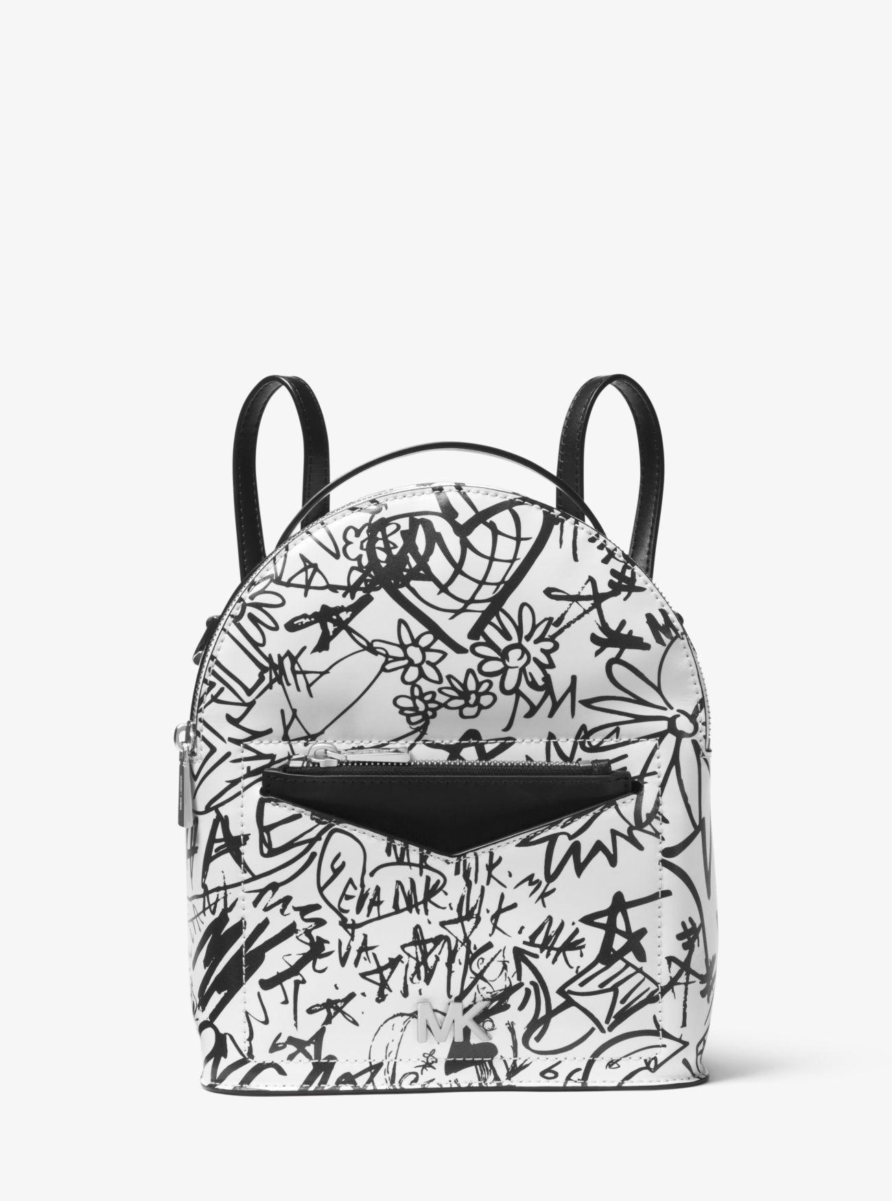 9691c388b9 Michael Kors Jessa Small Graffiti Leather Convertible Backpack - Optic White
