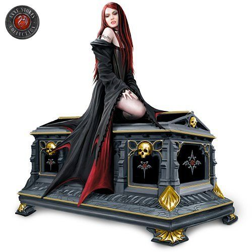 """Love Without End: Gothic Vampire Music Box by The Bradford Exchange by Bradford Exchange. $49.99. Fully dimensional gothic music box features an elegant Vampire Queen seated atop an ornate crypt-shaped music box. Certificate of Authenticity. Measures 2-3/4"""" W x 3-1/2"""" L x 4-3/4"""" H; 5.1 cm W x 8.9 cm L x 12.1 cm H. A mesmerizing vampire music box inspired by the spine-tingling imagery of acclaimed fantasy artist Anne Stokes, available exclusively from The Bradford..."""