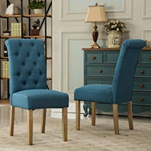 Amazon.com   Roundhill Furniture Habit Solid Wood Tufted Parsons Dining  Chair (Set Of