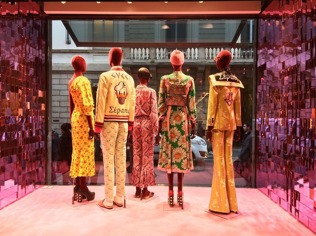 """GUCCI, Via Montenapoleone, Milan, Italy, """"Things changed, fashion changed, people changed, and the world went rolling along right outside the window"""",  pinned by Ton van der Veer"""