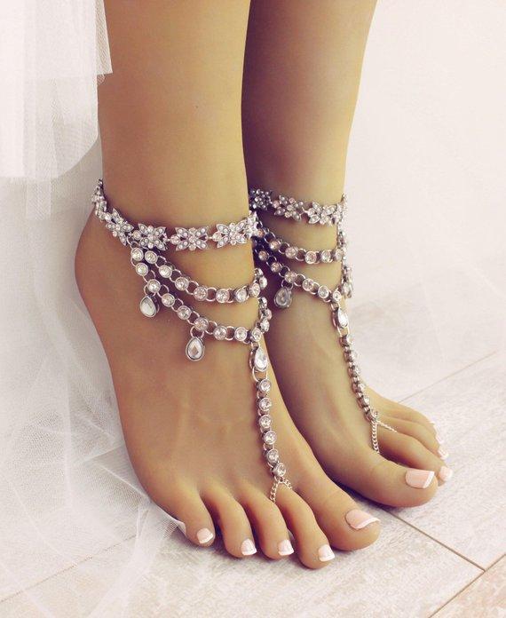 b91b526156867e Sia Barefoot Sandals Silver Foot jewelry Bridal Shoes Bridal Sandals  Footwear for Beach Bride Boho B