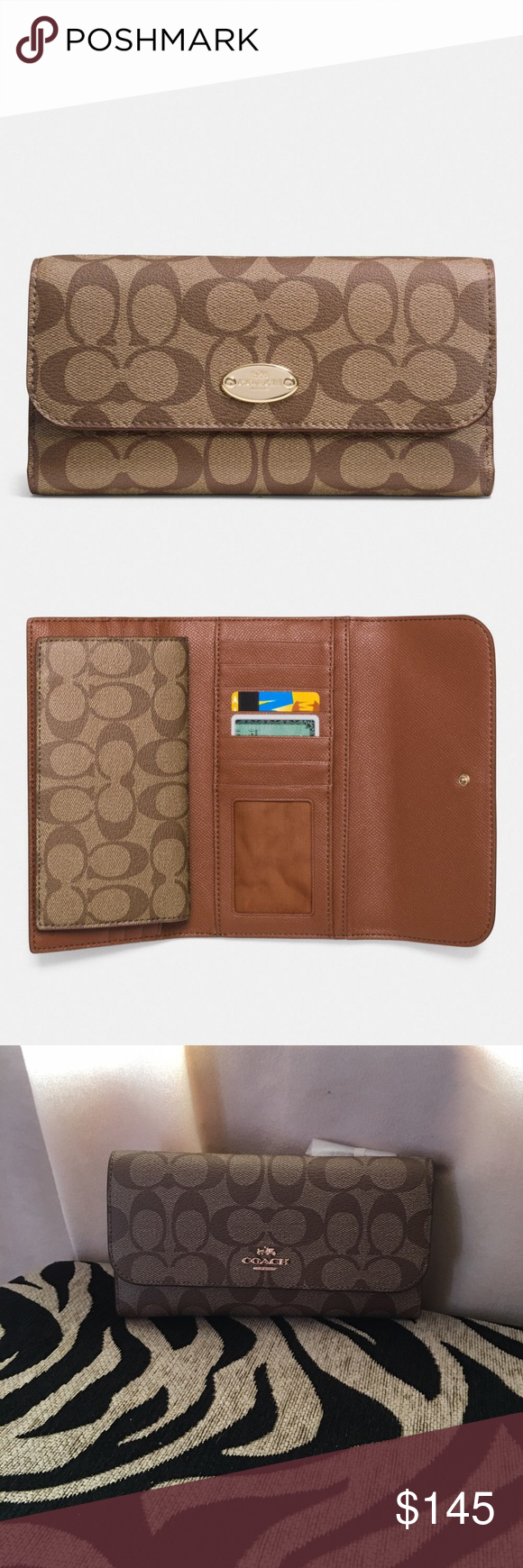 9ff98e5d381e Coach Checkbook Wallet in Signature Signature coated canvas with leather  trim Credit card and multifunction pockets Full-length bill compartments  Removable ...