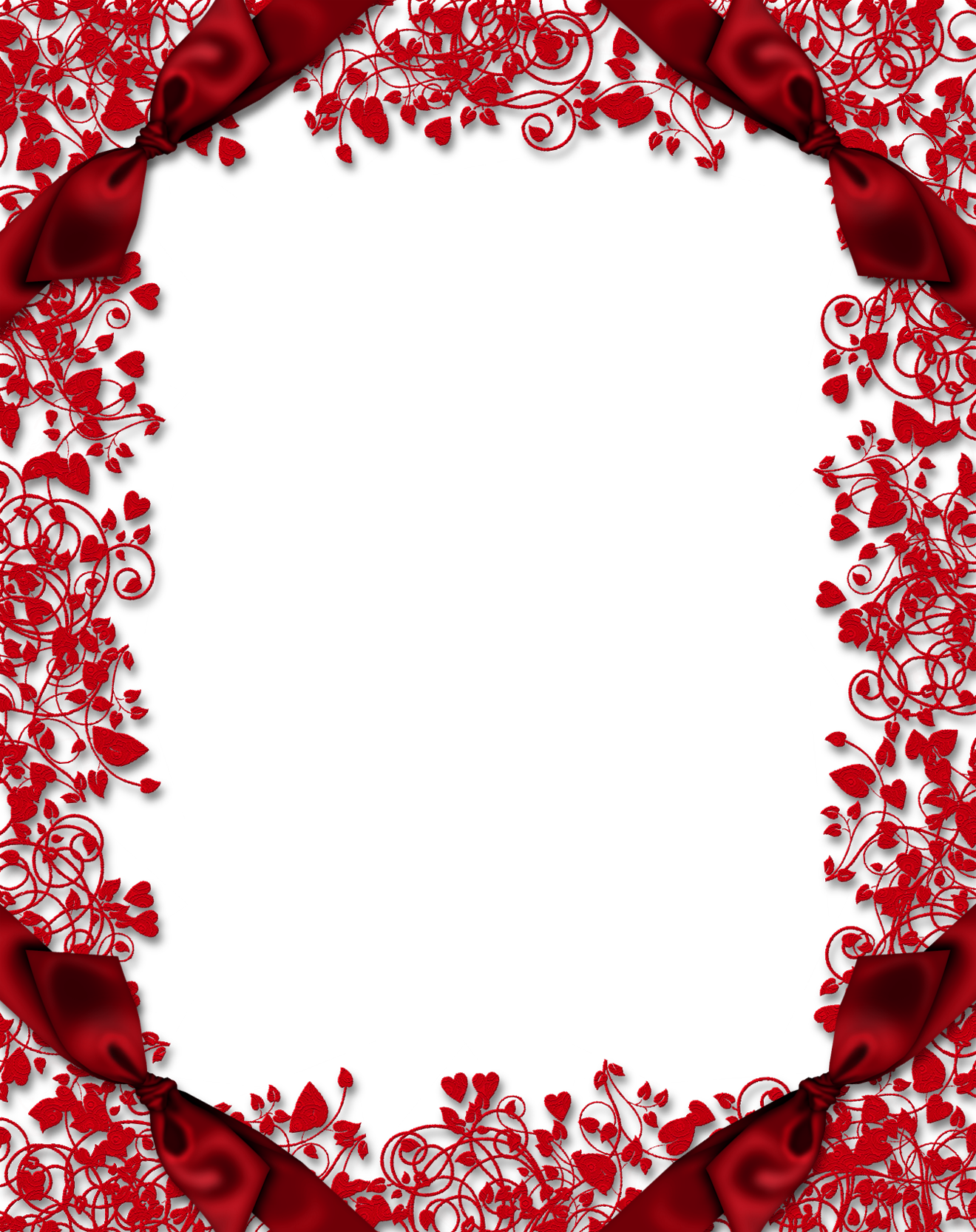 Red Transparent PNG Frame with Hearts and Bows | Borders & Frames ...