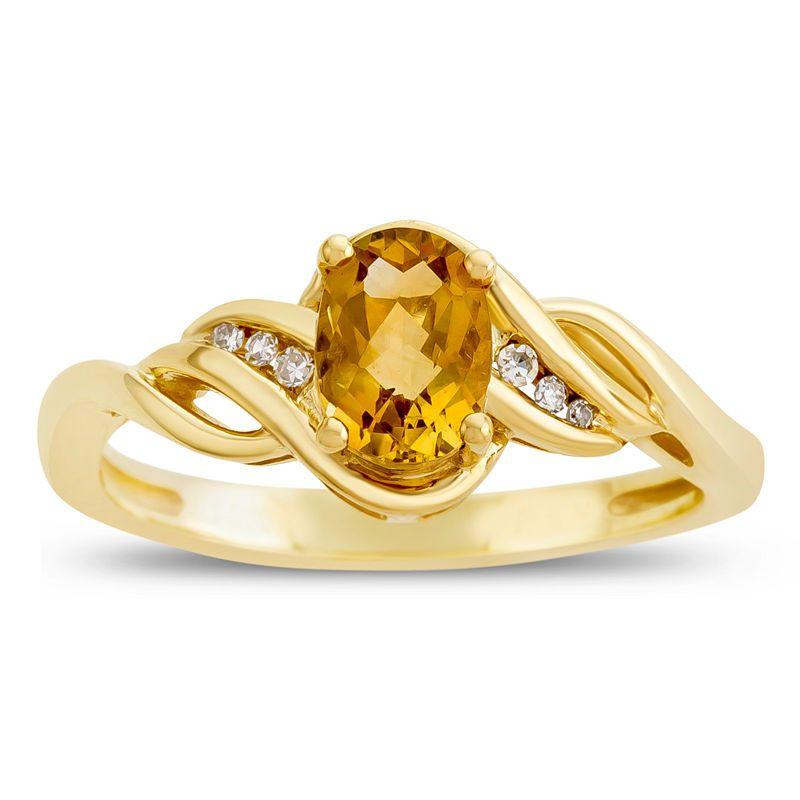 Womens Diamond Accent Genuines Yellow Citrine 10k Gold Delicate Cocktail Ring Rings Citrine Ring Delicate Rings