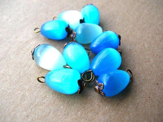 Glass Bead Charms - Drop Beads - Bead Lot - Blue Glass Charms by BohemianGypsyCaravan