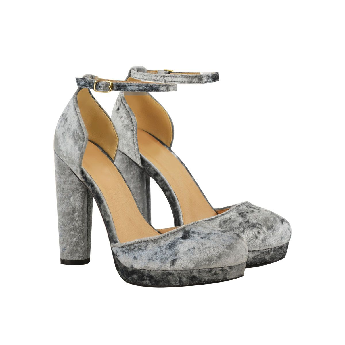 b060e1d1722 Grey Crushed Velvet Strappy Closed Toe High Heel Platform Shoes - Dotty
