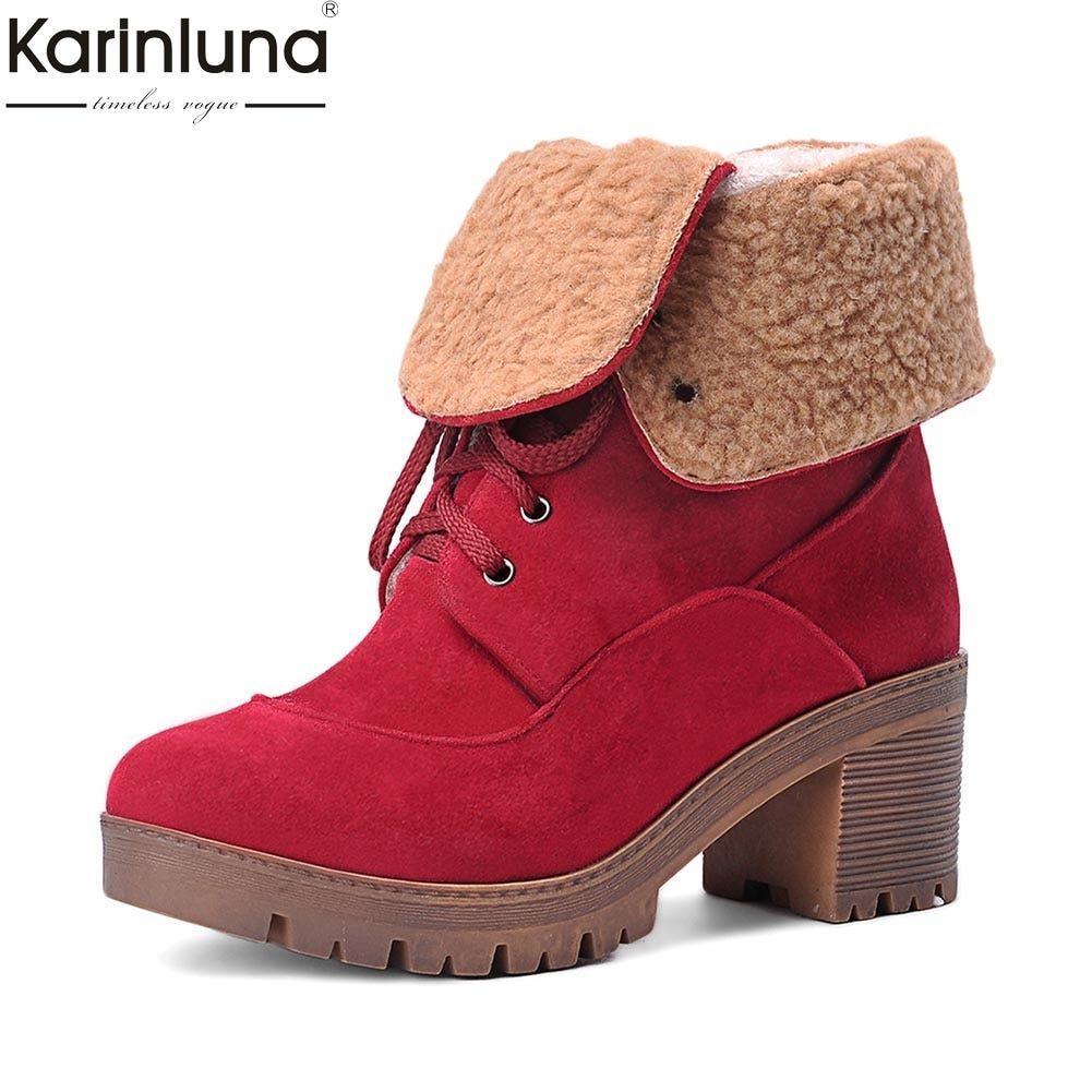 7594e0aa6a1 KARINLUNA snow boots 2018 big Size 34-43 platform add fur winter boots  woman shoes casual warm plush shoes woman ankle boots Review