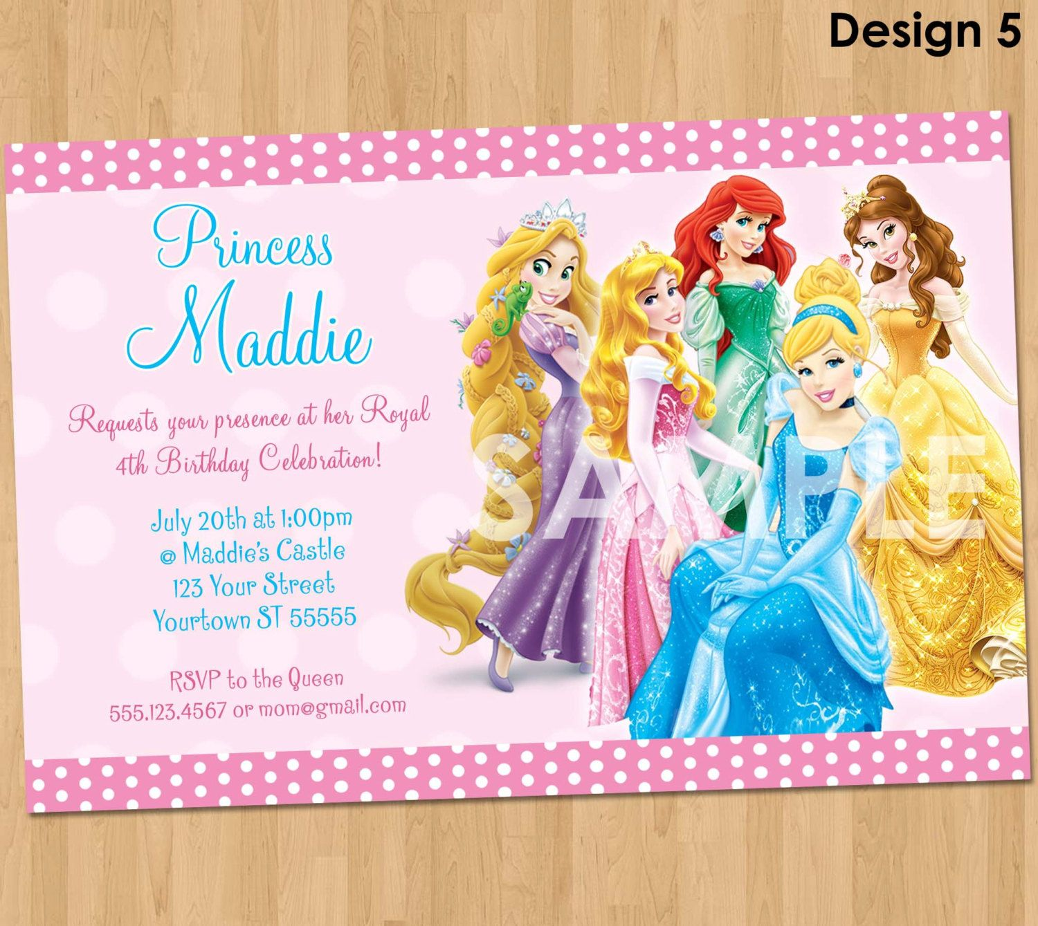 party invitations with all disney princesses including Frozen – Princess Party Invitation Ideas