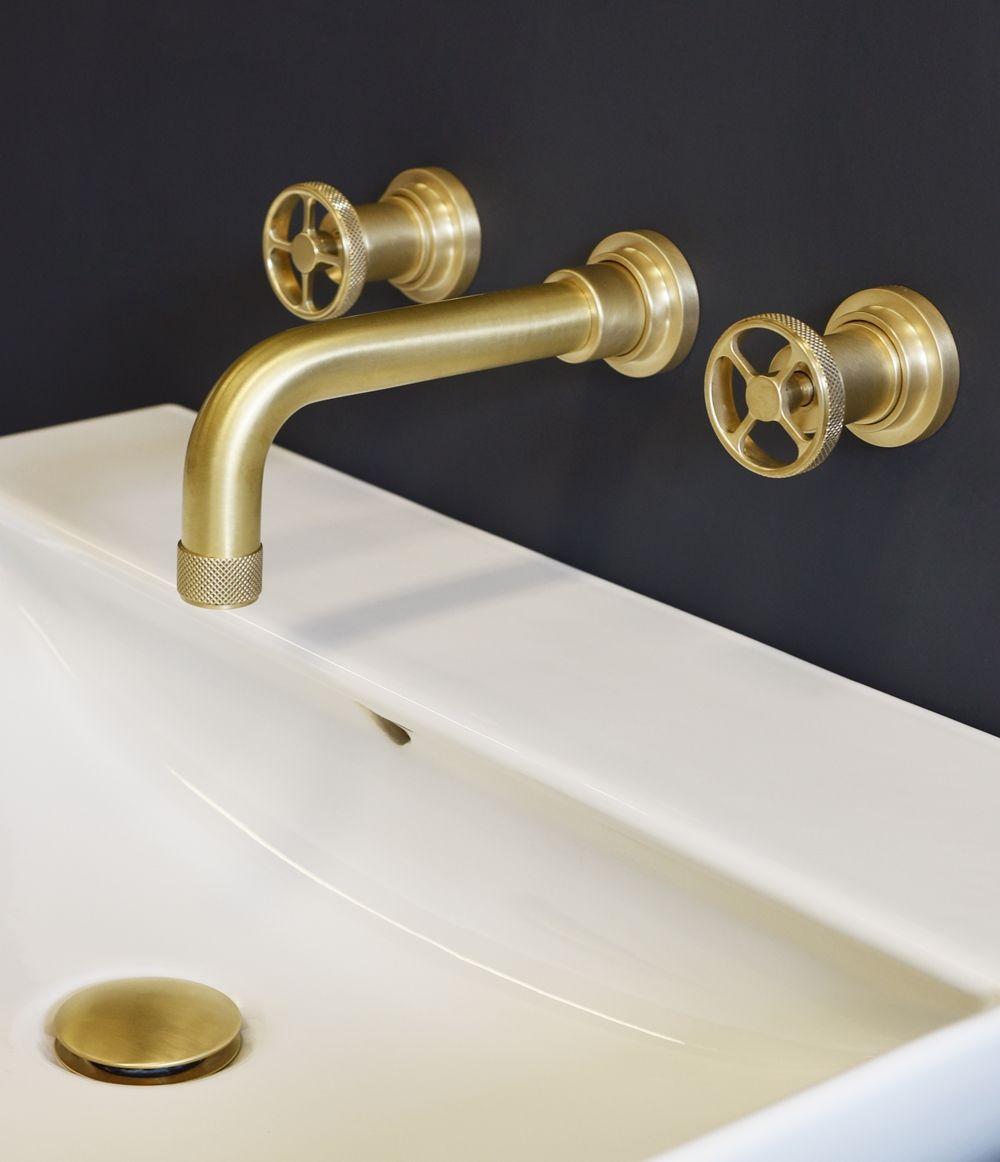 Acme Wall Mounted Basin Mixer In Scuffed Brass Natural Brass From Aston Matthews Wall Mounted Basins Basin Mixer Brass Tap