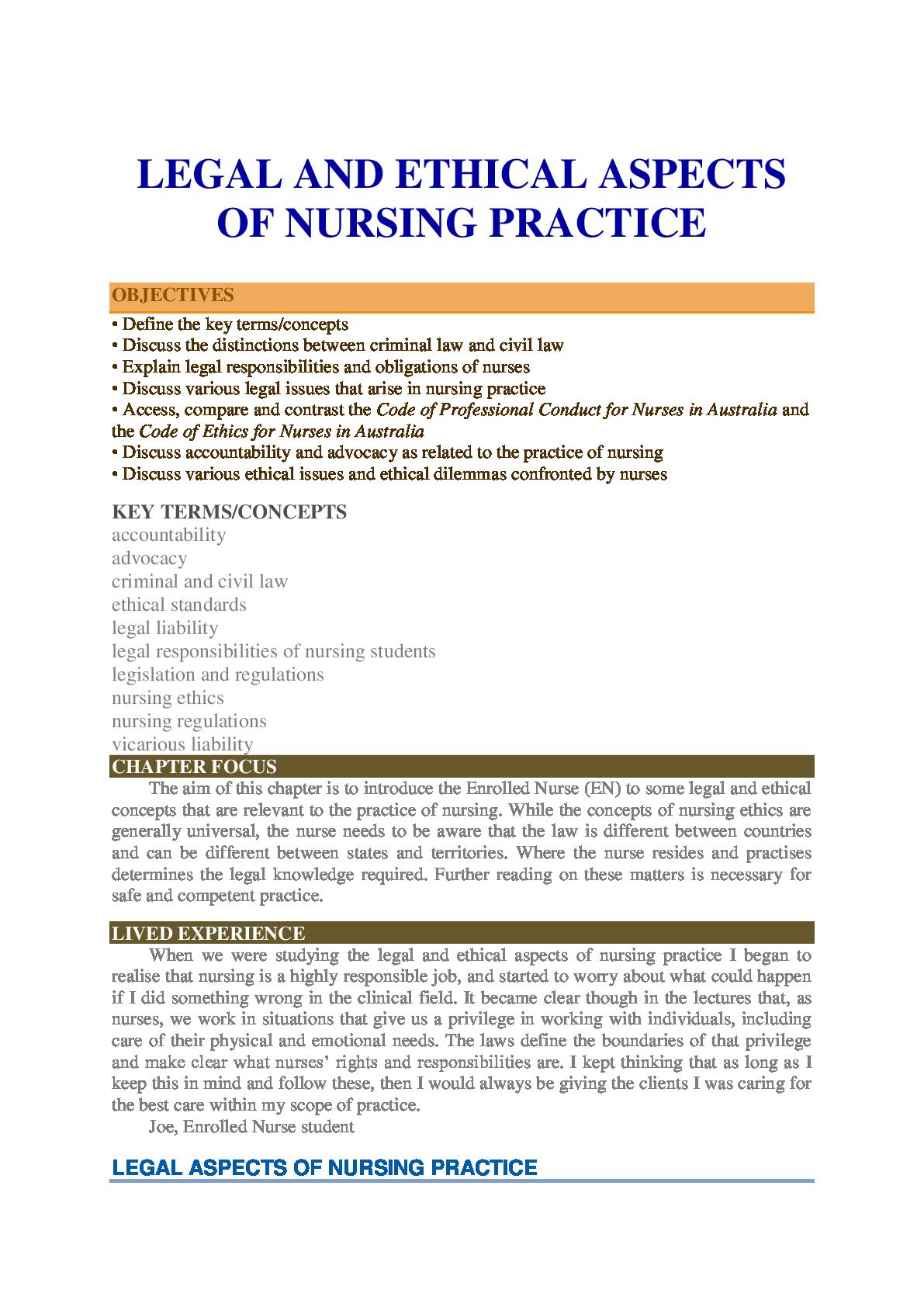 Legal And Ethical Aspects Of Nursing Practice Nursing Australia Ethics Nurse