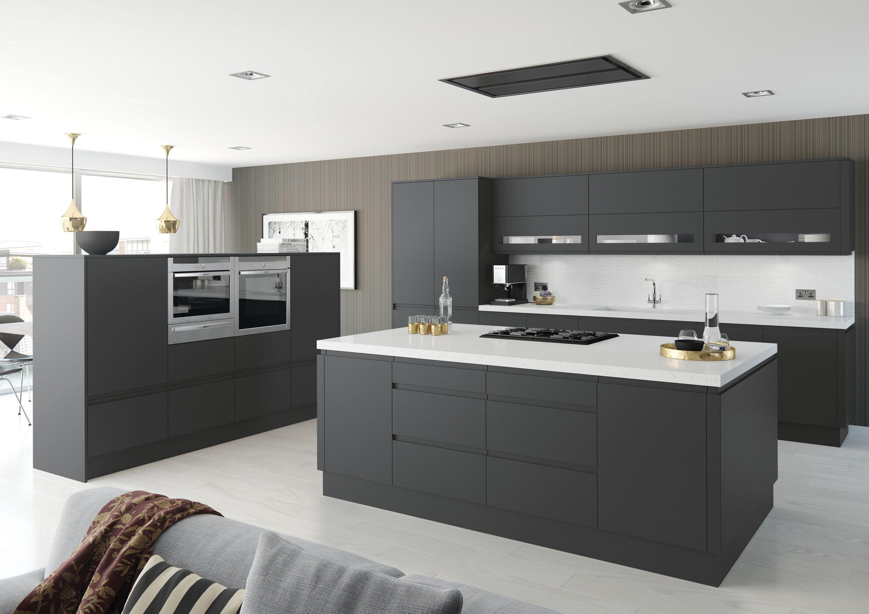 Moda Anthracite Kitchen Matt Handless Door Moda Kitchen Range Designer Kitchens For Less