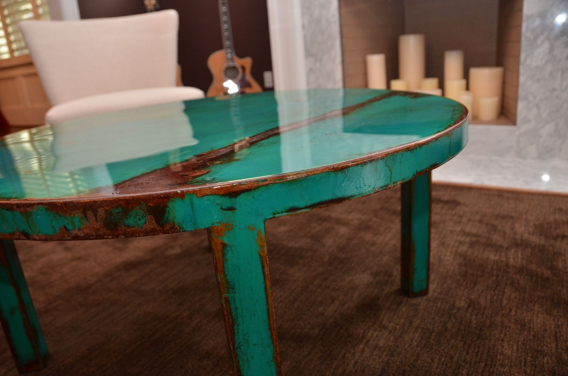 Custom Made Custom Round Metal Coffee Table Art With Beautiful Turquoise And Jade Green Paint