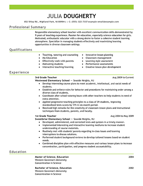 Resume Examples Free Example Resource Livecareer Teacher Samples