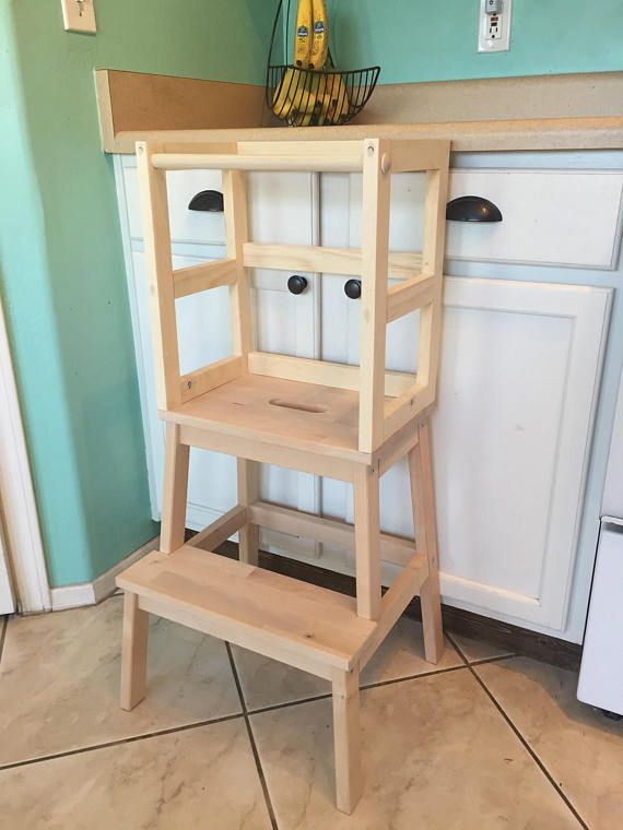 Montessori Kitchen Helper Stool Toddler Tower Wood Step