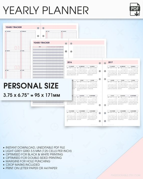 Yearly planner printable 2017 2018 filofax personal size inserts ...