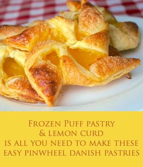 Easy Lemon Pinwheel Danish – using frozen puff pastry #recipeforpuffpastry Easy Lemon Pinwheel Danish - using pre-made frozen puff pastry makes these lemon danish so quick and easy to prepare. They make a very impressive addition to your weekend brunch. #frozenpuffpastry