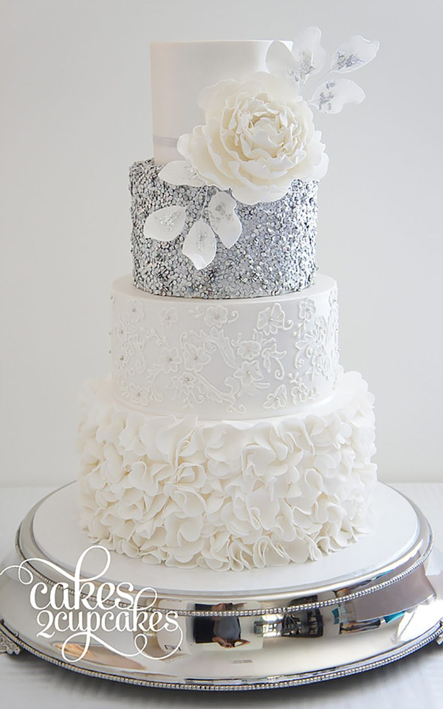 Wedding Ideas By Colour Silver Wedding Cake Decorations Chwv Wedding Cake Decorations Sequin Wedding Cake Sequin Cake