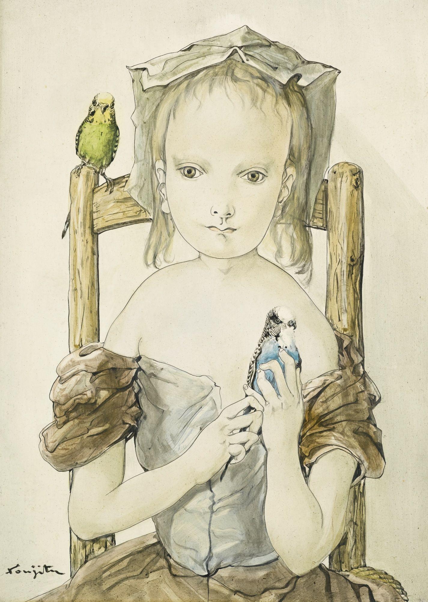 Foujita Tsuguharu Fillette Aux Per Portrait Sotheby S