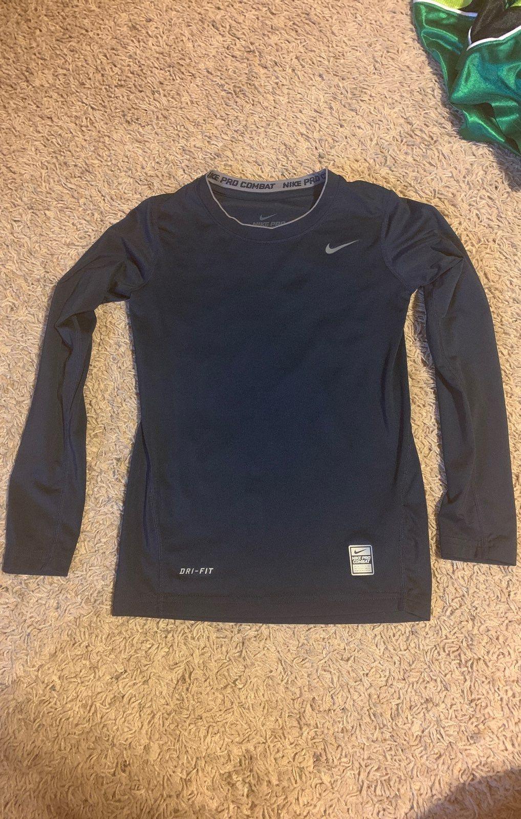 Nike Pro Combat Dri Fit Compression Long Sleeve Shirt Navy Long Sleeve Tshirt Men Long Sleeve Shirts Nike Tops [ 1600 x 1018 Pixel ]
