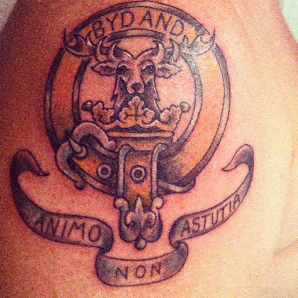 Scottish Highlander Tattoo: My Gordon Clan Tattoo. Bydand Means Steadfast. Animo Non