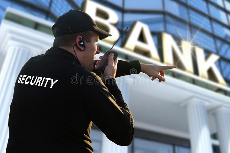 Bank security officer. A bank security officer near bank ...