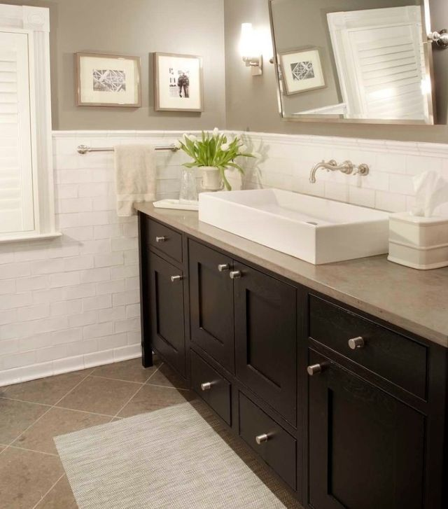 The light rectangular tiles with grey paint (lighter though) and dark vanity. Don't like the angle of the floor tiles though