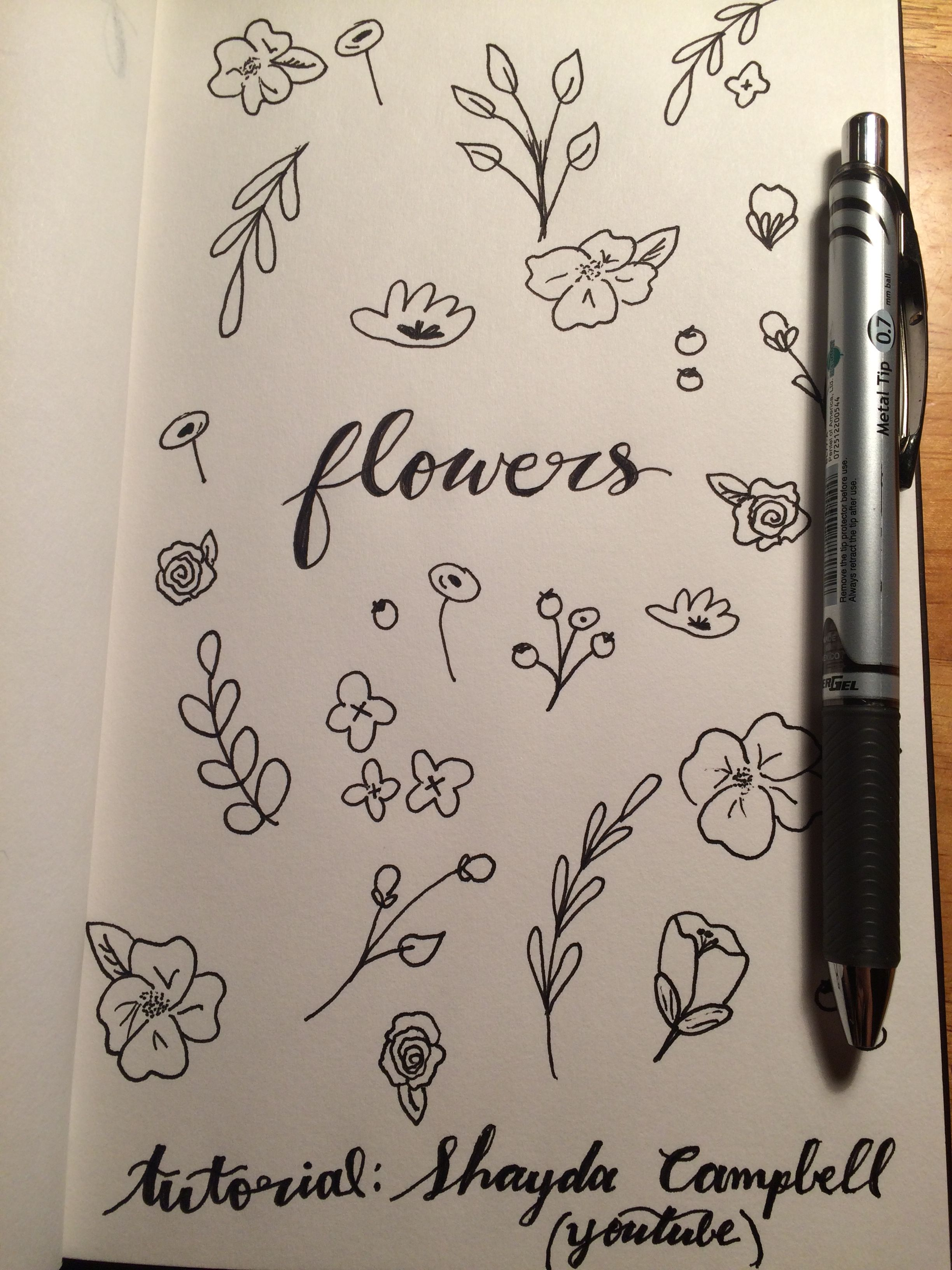 Practicing doodling some flowers for my bujo. Tutorial used from Shayda Campbell on Youtube
