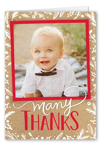 Thank You Cards: Festive Gratitude,  Card, Square, Beige