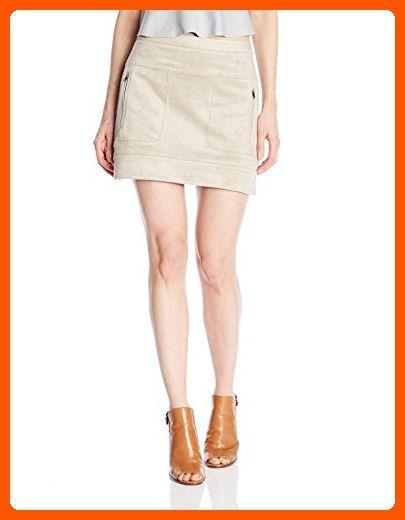 eb21832479 BCBGMAXAZRIA Women's Desyree Faux Suede Patch Skirt, Light Hazelnut, 12 -  All about women (*Amazon Partner-Link)