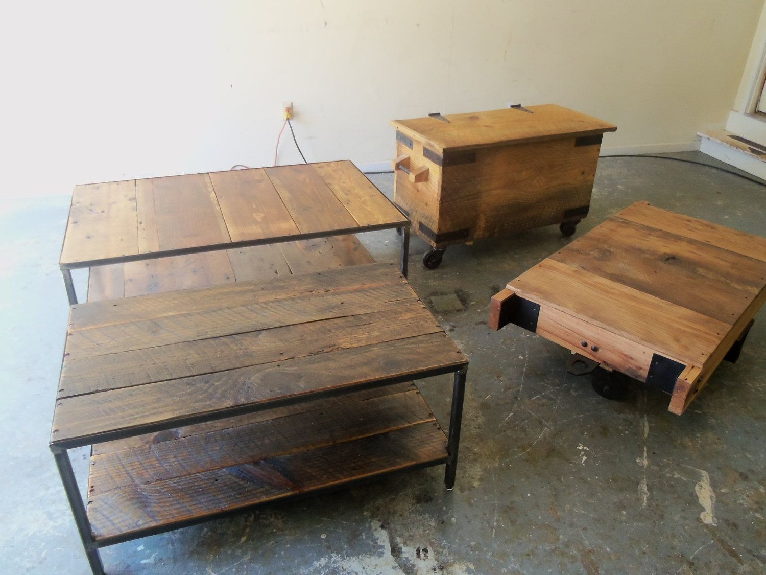 Industrial Style Coffee Table, Reclaimed Wood And Steel