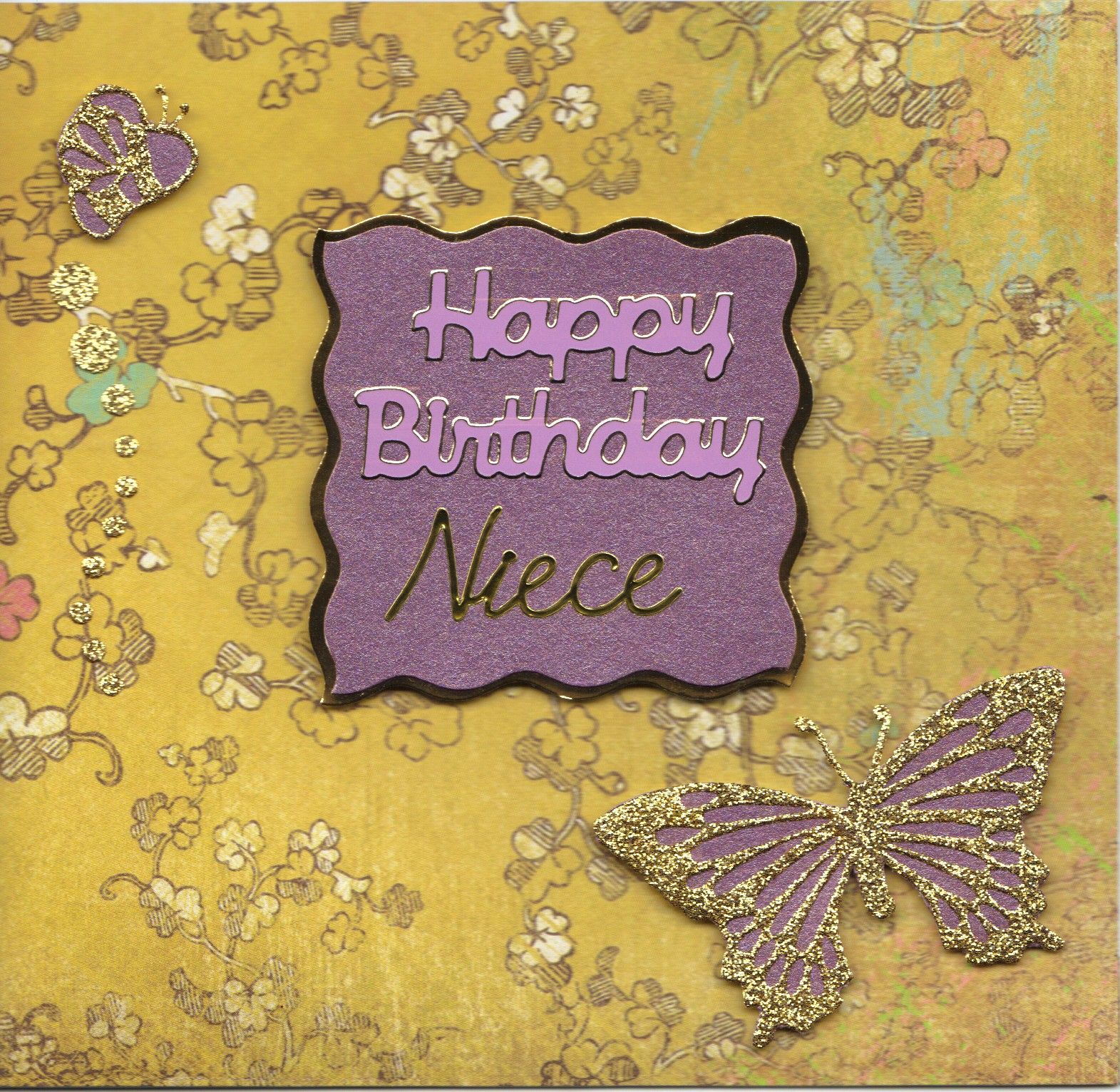 Purple Butterfly Niece Birthday Greeting Cards