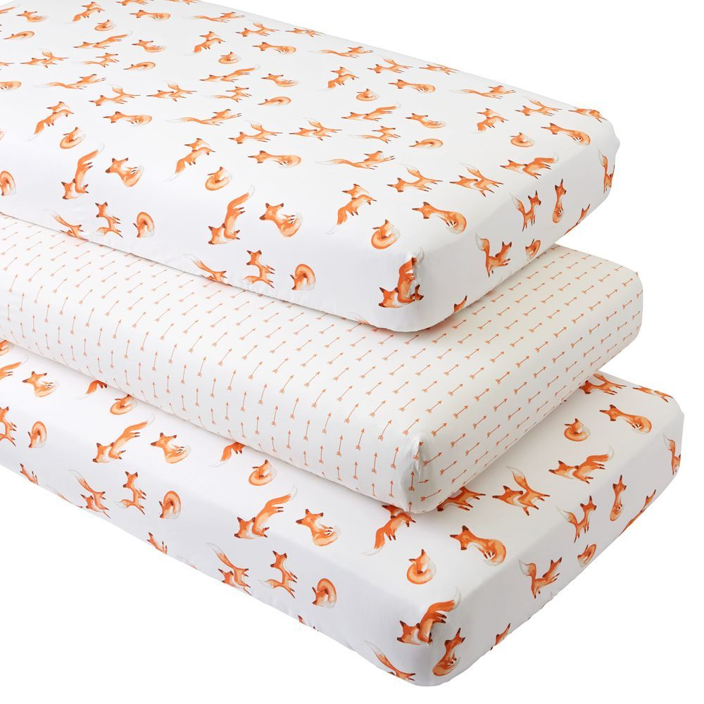 Fox Crib Fitted Sheets Set Of 3 Products Decoration Renard Renard