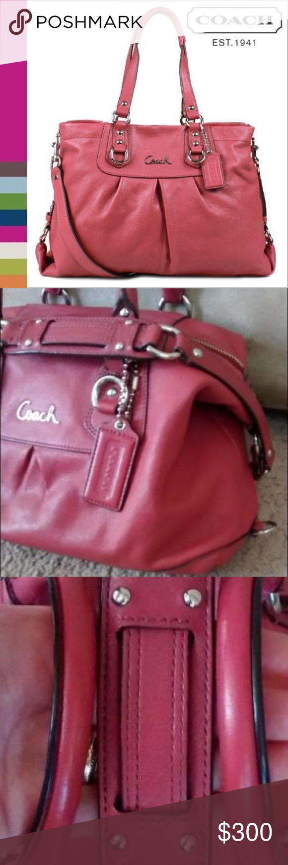 Authentic Coach Ashley Carryall Authentic Coach Ginger Beet Ashley Carryall. Retail price is $398 before tax. This bag is in excellent condition! I have only used it once or twice & it is from a smoke free home. Stored away from damage. Bag has handles, additional detachable shoulder strap, 3 compartments and a zipper pouch inside. Amazing color & quality as always from Coach! Coach Bags Satchels