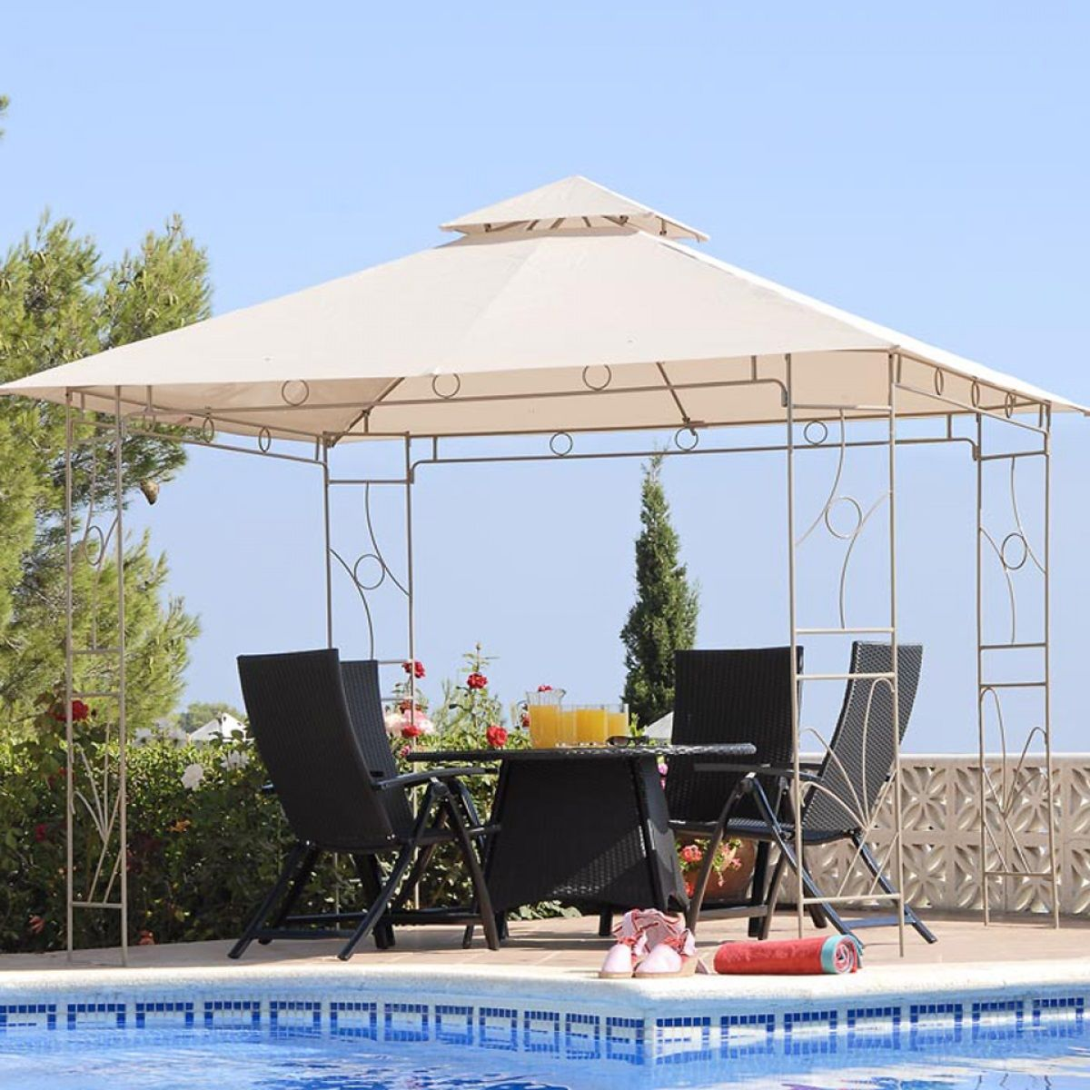 Small Light Gazebo Canopy Decors Set On Beside Swimming Pool With Black Chairs And Round Table & Small Light Gazebo Canopy Decors Set On Beside Swimming Pool With ...