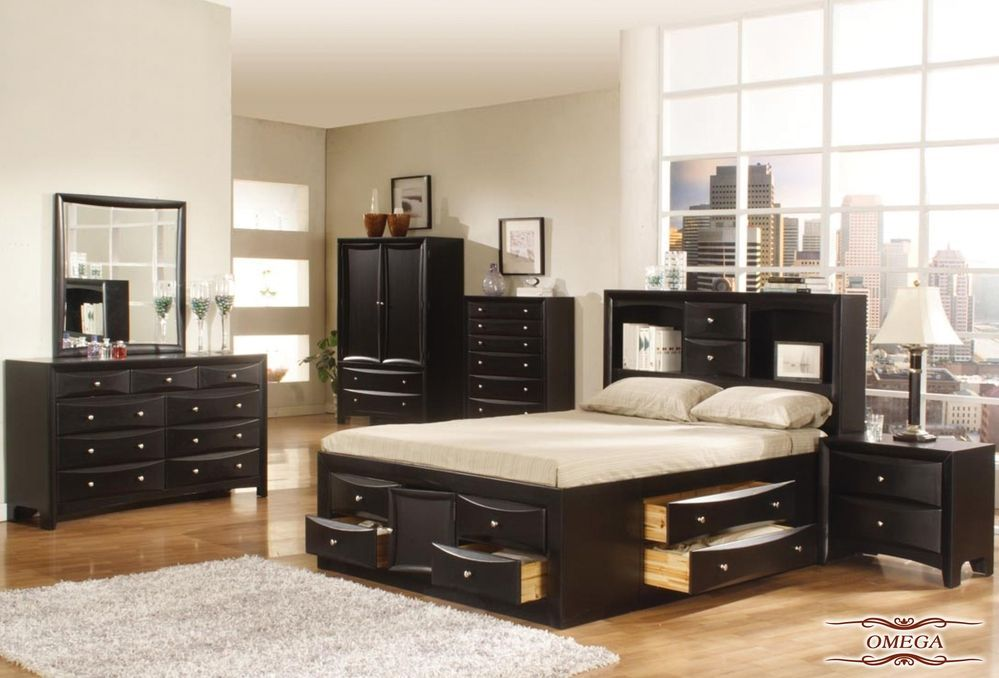 Queen Bedroom Sets With Storage omega - walnut finished #bedroom #set with #storage #bed