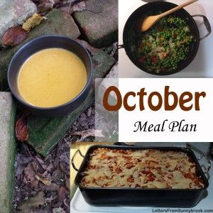 The October Monthly Meal Plan features simple, homemade family meals with versatile and cheap ingredients such as chicken, potatoes and seasonal vegetables.